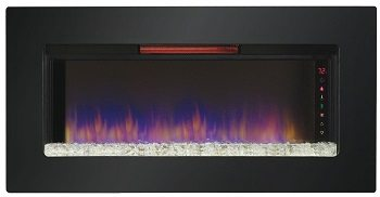 ClassicFlame 47II100GRG Felicity 47 Wall Mounted Infrared Quartz Fireplace, Black Glass Frame Review